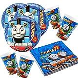 Amscan Thomas y sus amigos - Juego de vajilla (52 piezas, platos, vasos y servilletas para 16 niños)