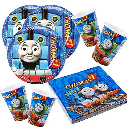Amscan 52-Teiliges Party-Set Thomas und Seine Freunde - Teller Becher Servietten für 16 Kinder