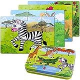 Kinderpuzzle, 64PCS Puzzle für Kinder, Vier schwierigkeitsgrade Lernspielzeug Spiel für Kinder 3 4 5 Jahren Alt, Metallkoffer Box.