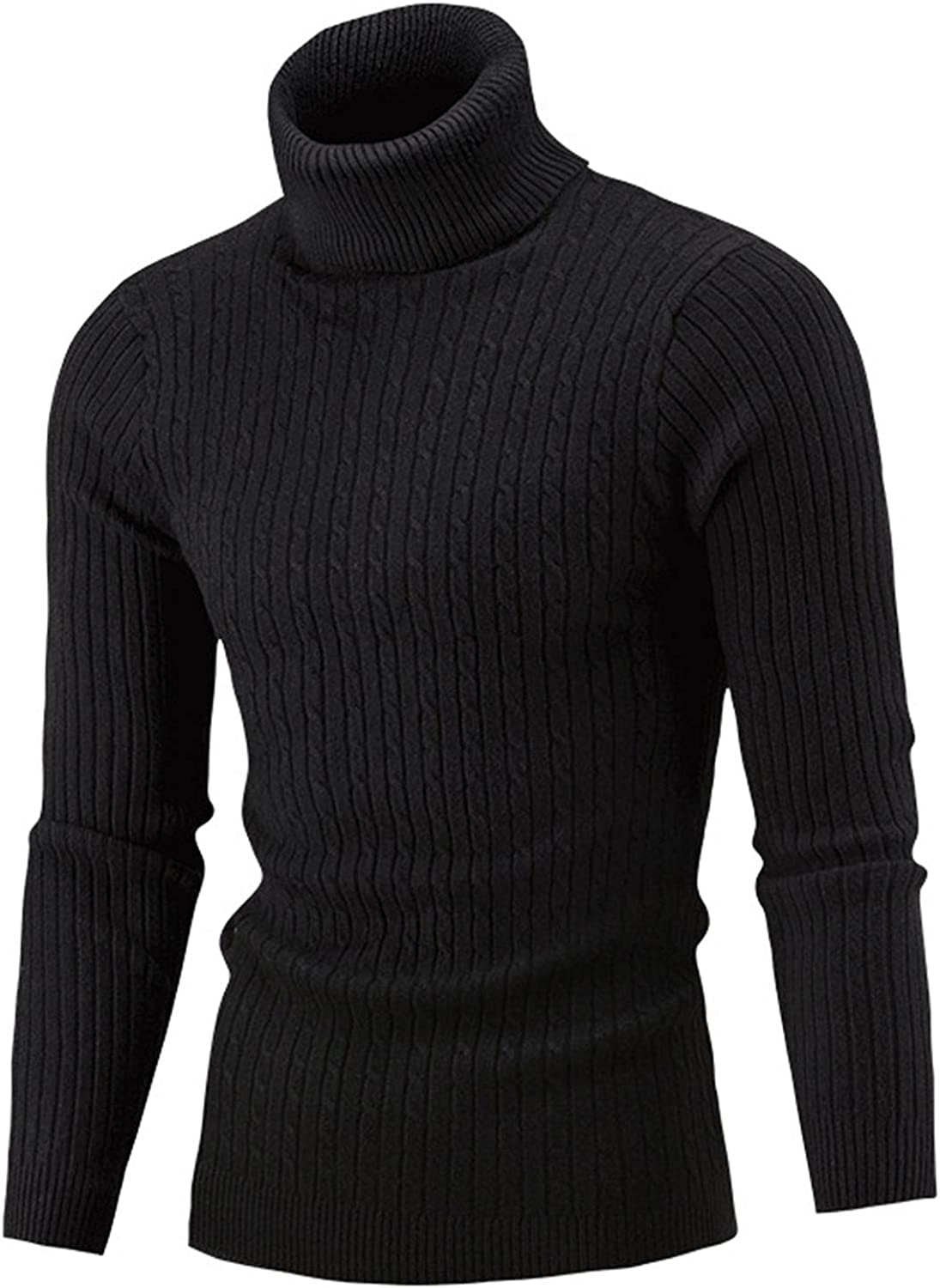 LEIYAN Mens Knit Sweaters Casual Turtleneck Long Sleeve Slim Fit Cable Knit Sweater Winter Thermal Knitwear
