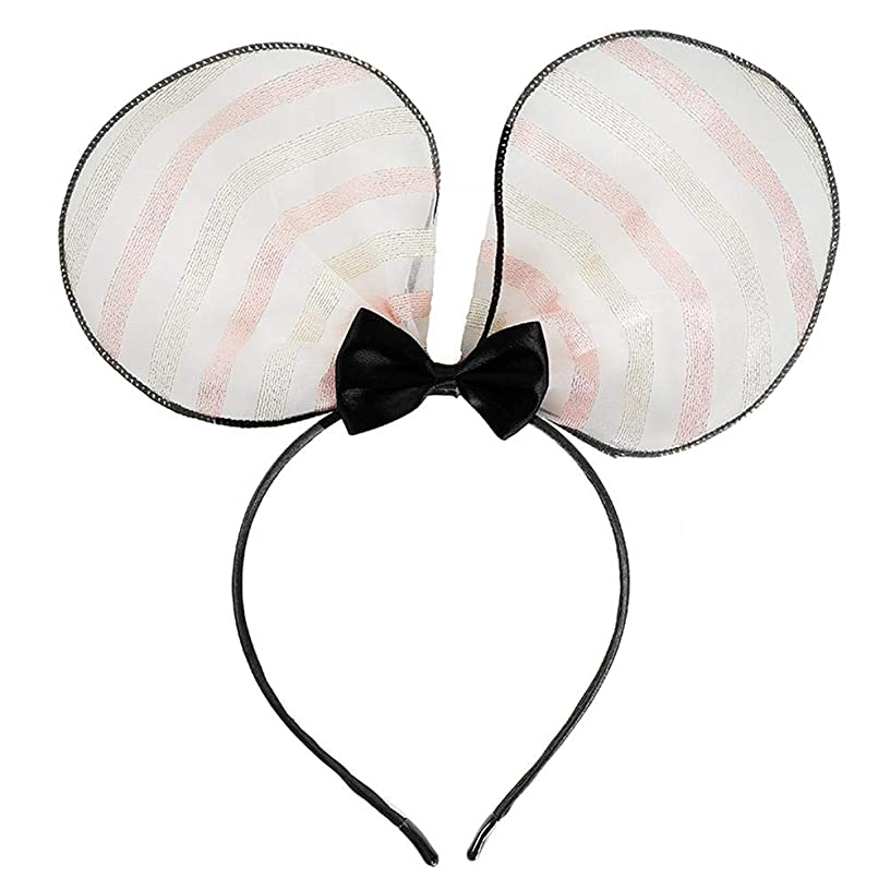 Mesh Hairband Stripes Hair Band, Fashion Women Wrap Accessory with Bowknot Decoration
