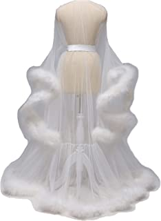 Wedding Sexy Feather Robe Bridal Upgraded Illusion Tulle Long Scarf New Custom Made