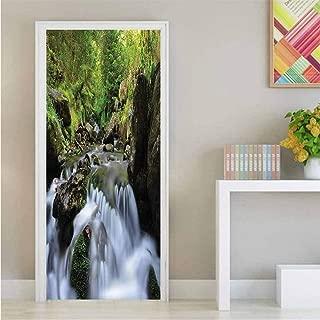 Homesonne Nature,3D Door Wallpaper Murals National Park Cascade Easy-to-Clean, Durable W23.6xH78.7