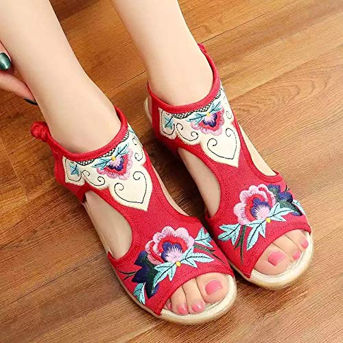 YYYSHOPP Zapatos Bordados Zapatos de Tela de la Antigua Pekín Sandalias de Las Mujeres Zapatos de cuña Zapatos de la Boca de Pescado Retro Bordado Estilo étnico Mary Janes