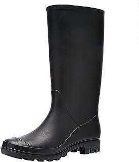 LINGZE Bottes de Pluie imperméables mi-Hautes pour Dames, Chaussures d'eau Noires antidérapantes, Bottes pour activités de...