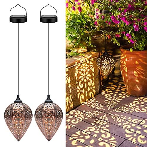 Lanterna Solare da Giardino Appendere, 2 Pezzi Solari Lanterne da Esterni, LED IP44 Impermeabili Luci Solari Esterno da Metallo Lampada Decorativo per Giardino Patio Festa Natale