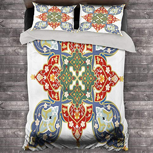 Miles Ralph Oriental Large Duvet Cover Turkish Ottoman Arabic Eastern Decor Flowers Moroccan Image Quilt Cover and Pillowcase 68'x86' inch White Ruby Turquoise Cadet Blue