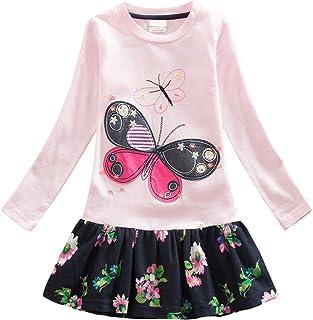 03a68cb727b VIKITA Robes Coton Broderie Manches Longues Floral Enfant Fille 2-8 Ans