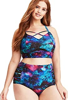 Women's Plus Size Two-Piece Swimwear, Starry Sky Print Bikini Big Size Swimsuit