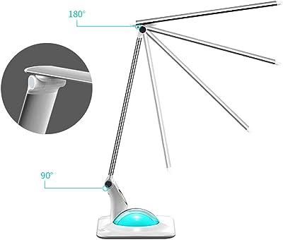 EFGS LED Drehbare und Klappbar Tischlampe mit USB-Anschluss Leselampe 3 Lichtmodi und Helligkeitsstufen Dimmbar, Touch Control Tischleuchte