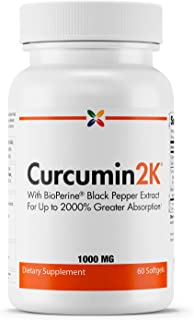 Stop Aging Now - Curcumin2K Formula with Black Pepper - with BioPerine Black Pepper Extract for Up to 2000% Greater Absorption - 60 Softgels