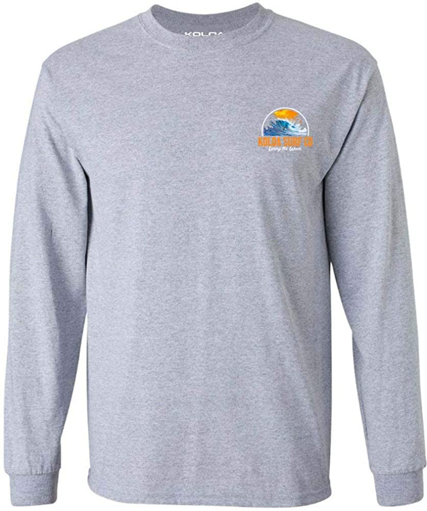 Koloa Surf Mens Polihale Beach Logo Long Sleeve Cotton Tee in Reg, Big and Tall