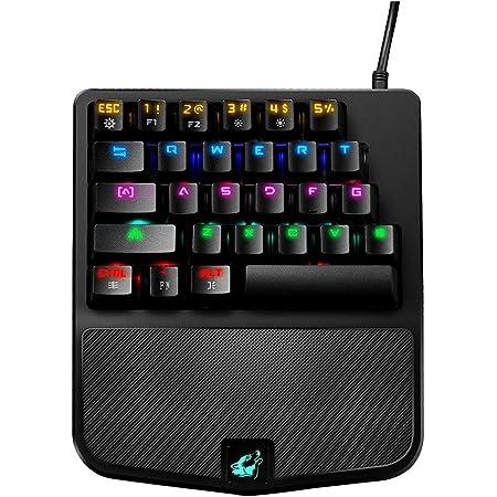 FELiCON Teclado Mecánico Gaming K9 Cable USB Teclado 28 Teclas Mezcla RGB LED Retroiluminado Ergonómico Gamer Control De Una Mano Azul Interruptor ...
