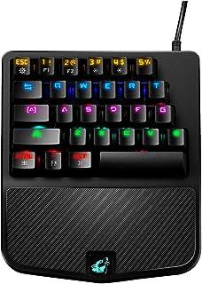 FELiCON Teclado Mecánico Gaming K9 Cable USB Teclado 28 Teclas Mezcla RGB LED Retroiluminado Ergonómico Gamer Control De U...