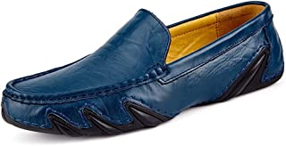 XHD-Men's zapatos Deslizamiento de la Velocidad del Cuero en Transpirable Whippersnapper Ocio Mocasines de conducción para Hombres Punta rojoonda Oxfords Casual Caminar Penny zapatos
