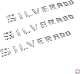3x PartsTo Silverado Nameplate Letter Script Emblems Badge for Chevrolet Silverado 2007-2015 [Chrome Silver]
