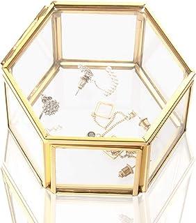Wohlstand Cajas para Joyas de Vidrio,Caja de Vidrio geométrica Adornos para Anillos Joyas Caja Transparente de Cristal Org...