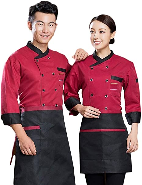 WYCDA Chef/Cocinero Manga Larga Negro Blanco Rojo Cocina ...