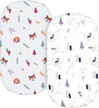 TILLYOU Microfiber Woodland Bassinet Sheets, 33''x16''x4'' Flexible for Different Cradle and Bassinet Mattress, Silky Soft...