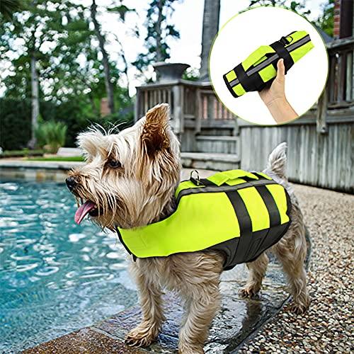 Chaleco Salvavidas para Perros para Nadar, Chaleco Salvavidas Inflable Y Plegable para Mascotas, con Empuñadura De Rescate Y Flotabilidad Superior, Traje De Baño para Pasear En La Piscina Barco /