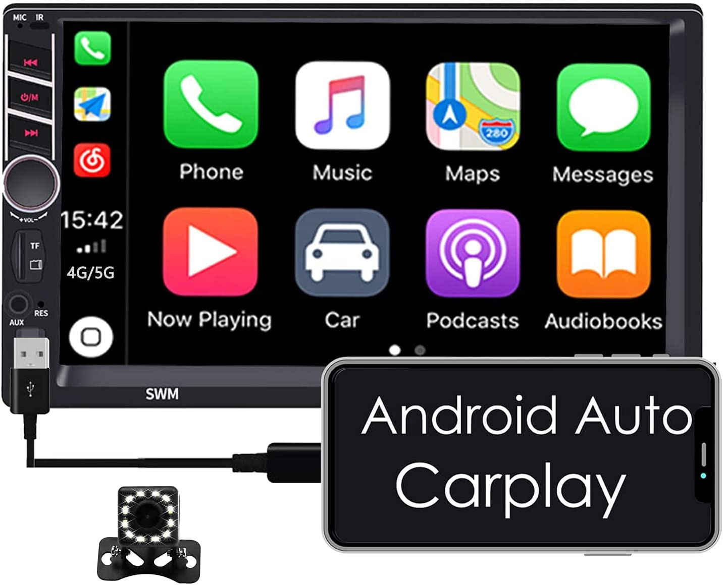 ZHNN 7 Inch Double Din Touchscreen Car Stereos Radio with Apple Carplay Android Auto,7