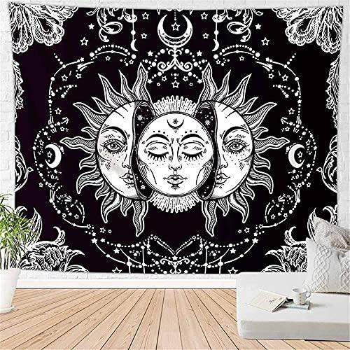 CIUTEK Tapisserie Murales Soleil et Lune Papier Peint, Tenture Murale Mandala Psychédélique Noir Hippie Indien Bohémien(moyen-59 x 51 in)