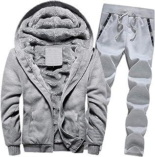 Men's Winter Thicken Warm Fleece Long Sleeve Tracksuit Set Solid Color Sportswear Joggers Activewear Fur Lined Hoodies+Con...