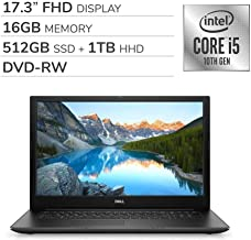 "TDell Inspiron 17 3793 2019 Premium 17.3"" FHD Laptop Notebook Computer, 4-Core Intel Core i5-1035G1 1.0 GHz, 16GB RAM, 512GB SSD + 1TB HDD, DVD, Webcam, Bluetooth, Wi-Fi, HDMI, Windows 10 Home"
