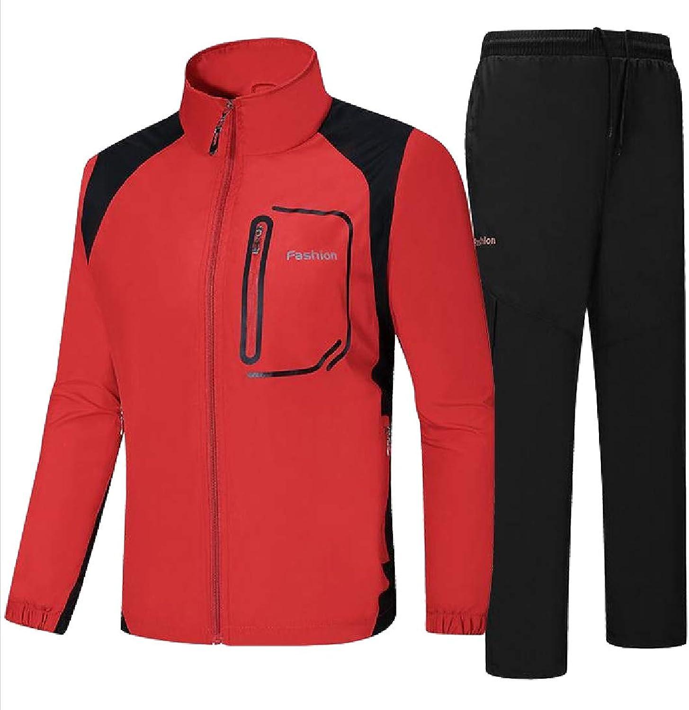 Zimase Mens Athletic 2Piece Vogue Stand Collar Slim Fit Tracksuit Jog Set