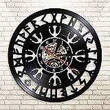 tjxu Reloj de Pared de Vinilo con Casco de Amuleto nórdico, brújula vikinga de Mago nórdico, Reloj Negro Retro, reparación de CD, Silencio