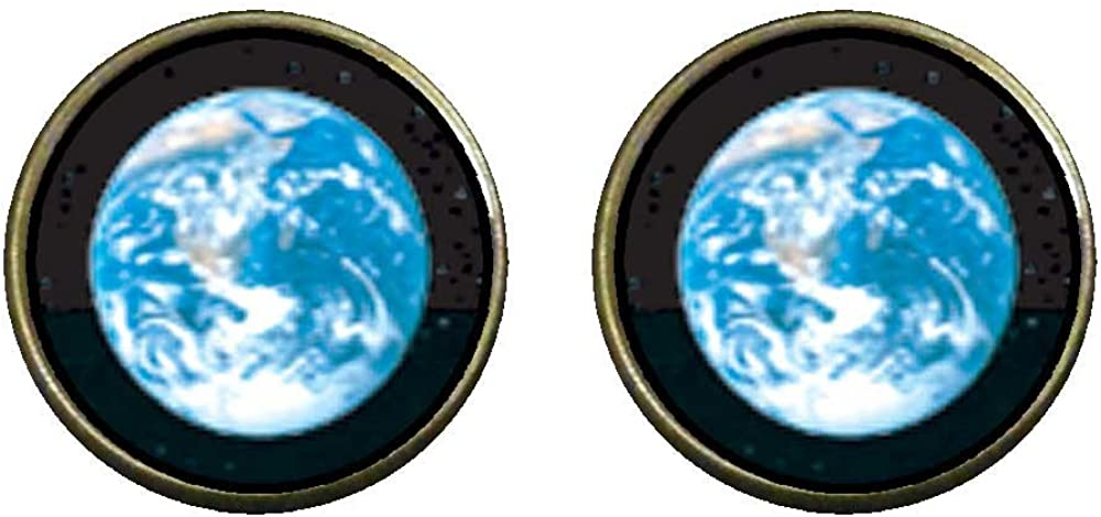 GiftJewelryShop Bronze Retro Style Earth From Space Photo Clip On Earrings 14mm Diameter