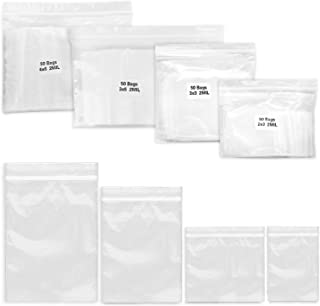 200 Pack 2 Mil Thick Poly Ziplock Bags for Jewelry, 4 Assorted Sizes, 2x3, 3x3, 3x5, 4x6 Inch. Clear Durable Food Grade Safe PP Plastic Resealable Zipper Baggies for Ring, Bead, Necklace, Coin, Pill.