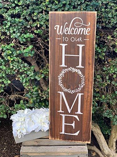 Ced454sy Welkom bij ons huis houten bord Welkom Teken Voordeur Welkom Teken Welkom Boerderij Decor Entryway teken Porch Teken Krans Teken