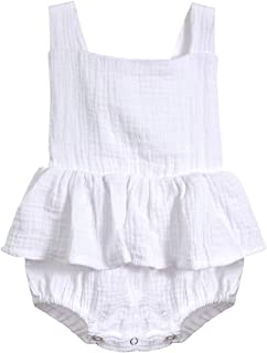 Oklady Infant Newborn Baby Girl Romper Ruffle Cotton Flutter Sleeve One-Piece Bodysuits