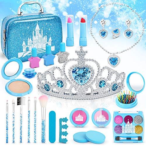 Dreamon Schminkkoffer Kinder, Waschbar Prinzessin Schminke Spielzeug mit Krone, Geschenk Mädchen 5 8 Jahre, 26 PCS