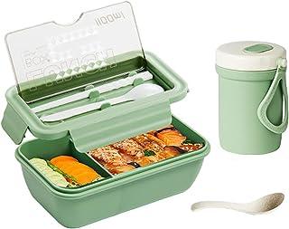 Bento Box för vuxna lunchpaket, hermetiska matbehållare med soppkopp bestick Läckagesäker för arbetsskolan,Green,1400ml