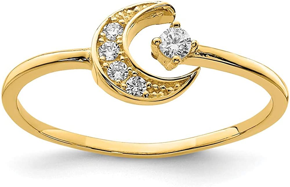 14K Yellow Gold Cubic Zirconia Moon Ring Size 7