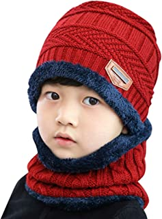 Baby Boys Girls Knitted Hat Fleece Contrast Colors Warm Winter Hats+Scarf Two Piece Set