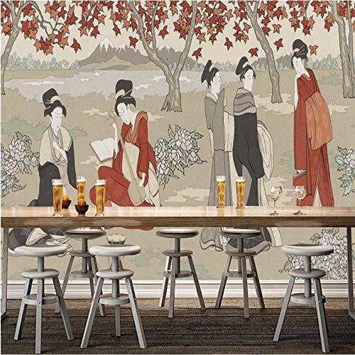 NIdezuiai Muurschildering Aanpassen van 4D-behang, Japanse vrouw tuin, abstract karakter van de serie, Hd-Art Print muurschildering poster,grote zijde muurschildering voor kleding nail schoonheid kapper inrichting 24in×48in 60cm(H)×120cm(W) zoals getoond
