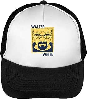 Breaking Bad Walter White Portrait Gorras Hombre Snapback Beisbol Negro Blanco One Size
