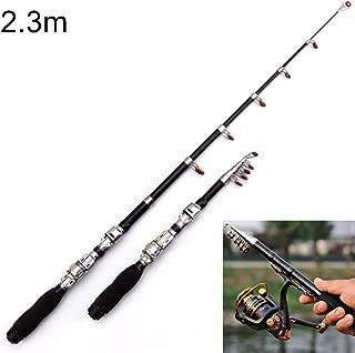 Fishing 37cm Portable Telescopic Sea Fishing Rod Mini Fishing Pole, Extended Length : 2.3m, Black Clip Reel Seat Fishing Rod