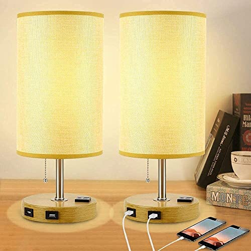 lowest Depuley Bedside Table Lamp, discount Set wholesale of 2 Modern Desk Lamp with 2 USB Ports and AC Outlet, Nightstand Lamp with Fabric Shade for Bedroom, Living Room, Kids Room, Dorm, Office(E26 Bulb Included) outlet sale