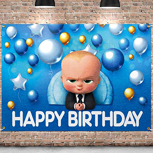 PAKBOOM Happy Birthday Backdrop Black Photo Background Banner Themed Birthday Decorations Party Supplies for Children
