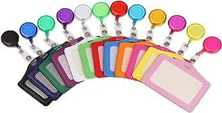 12 Pièces Multicolores Rétractable Badges Porte,Porte-étiquettes rétractables,Porte-Badge Translucide,Porte Badge en Cuir,...