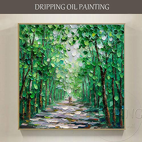 Handgemalte moderne abstrakte grüne Landschaft Ölgemälde Leinwand Malerei Textur Messer grünes Baum Ölgemälde