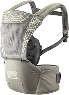 Baby Carrier with Hip Seat Breathable & Detachable Design Adjustable Strap Side Pockets Multifunctional Ergonomic Waist St...