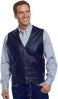 Men's Black Leather 4 Snap Vest Style ML1059