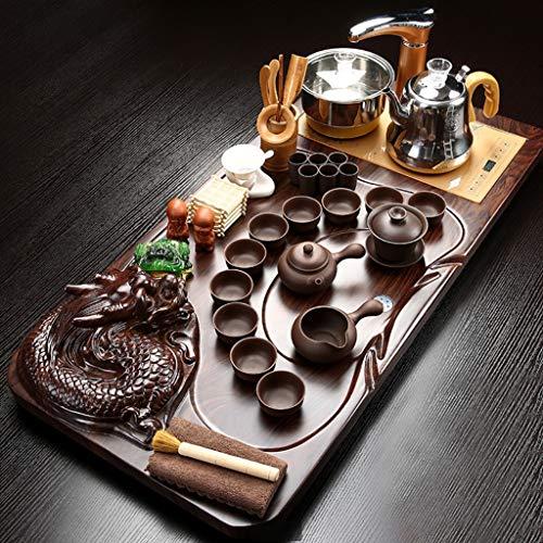 Thee-dienblad, theetablets theeservies set keramische kung-vot-thee-set met houten theedienblad en kleine thee-gereedschappen, theeservies, speelgoed thee-set voor geschenk, theekopje, theekopje, theeschaal, waterkok