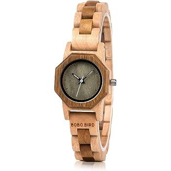 BOBO BIRDレディースハンドメイド木製腕時計絶妙な軽量腕時計ブレスレット留め金時計ギフトボックス (グリーン)