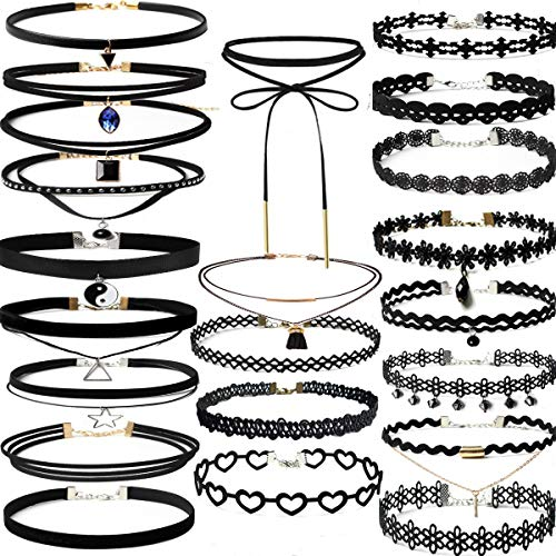 22 Pcs Black Choker Necklaces Set Womens Velvet Choker Set Classic with Lace Tattoo Charm Girls Stretch Necklace Gifts